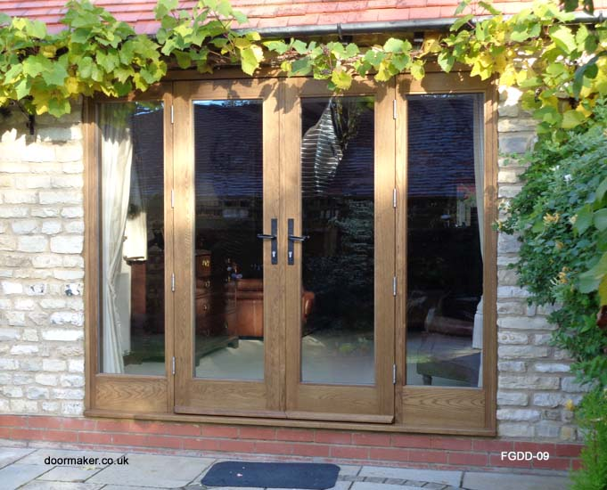 oak french doors and frame sidelights
